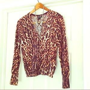 Lucky Brand Leopard Print Cardigan XS